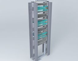 3d model 19 inch rack with 3 x cisco 2960 48 port switches