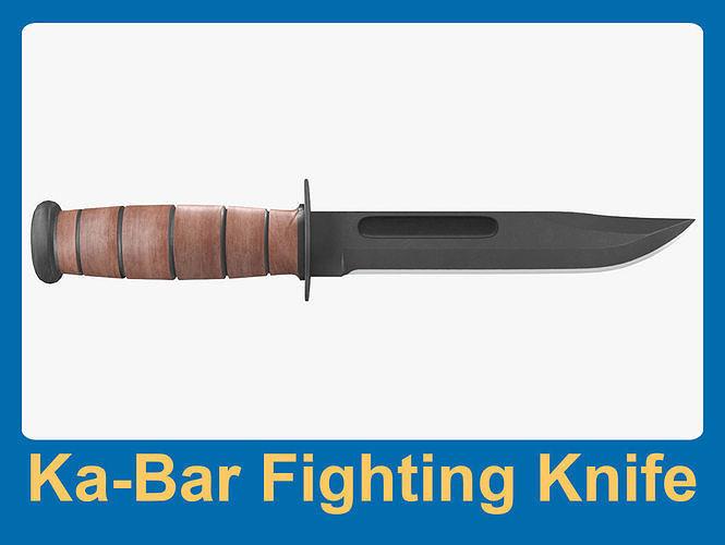 ka-bar fighting knife 3d model max obj mtl fbx 1
