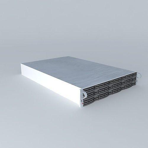 supermicro 12 x 1 terrabyte drive 2u server 3d model max obj 3ds fbx stl dae 1