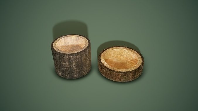 bark bowl tall and small 2 piece set 3d model obj mtl fbx tga 1