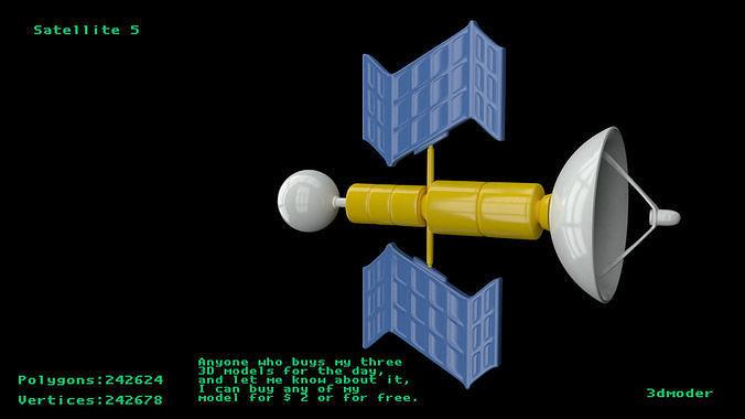 satellite 5 3d model obj mtl fbx stl blend x3d 1