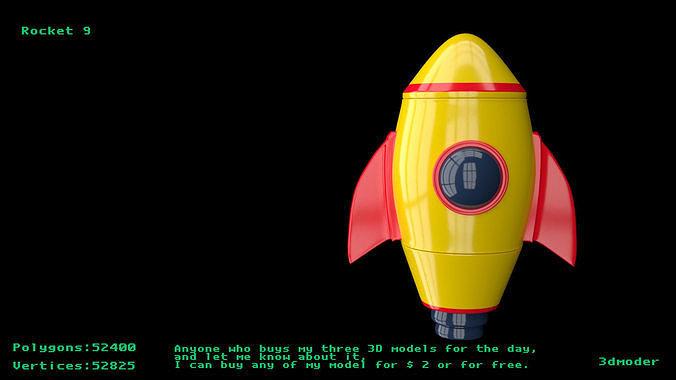 rocket 9 3d model obj mtl fbx stl blend x3d 1