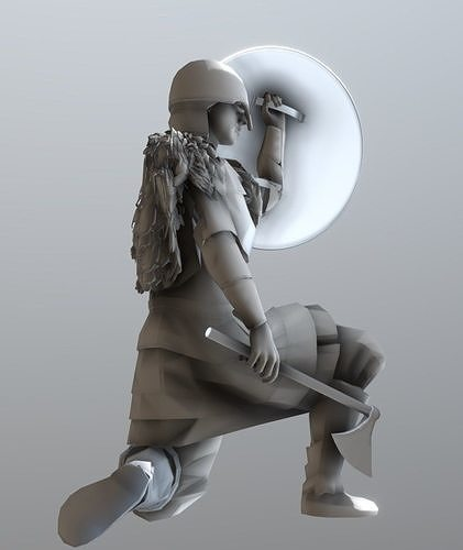 viking with shield 3d model max obj mtl fbx stl 1
