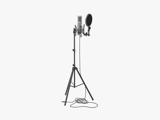 rode studio microphone stands with filter 3d model max obj mtl 3ds fbx c4d ma mb 1
