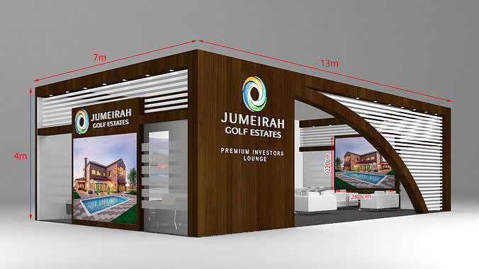 exhibition stand booth 13x7m 3d model max 1