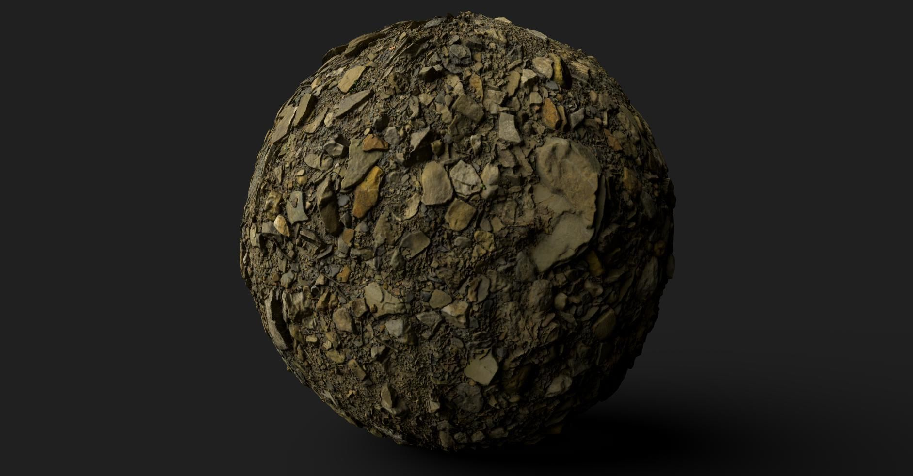 PBR Scanned Large Stone Soil