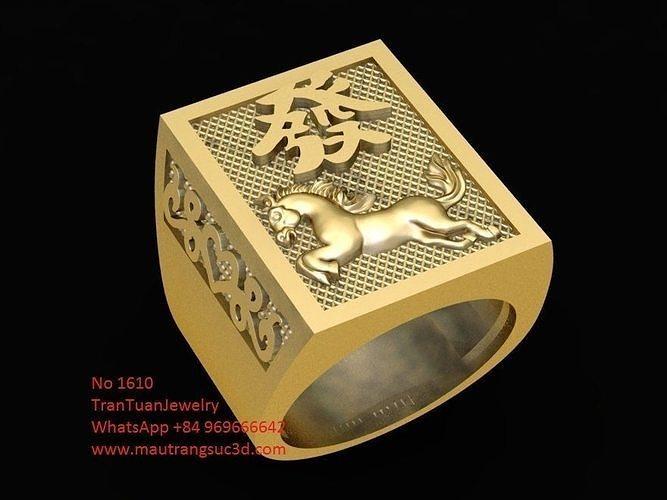 1610 lucky horse ring for men 3d model 3dm 1