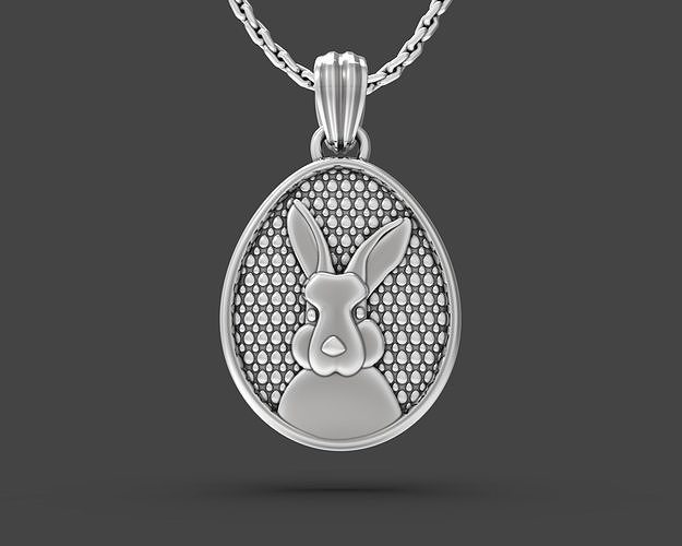 Easter egg with Bunny portrait pendant
