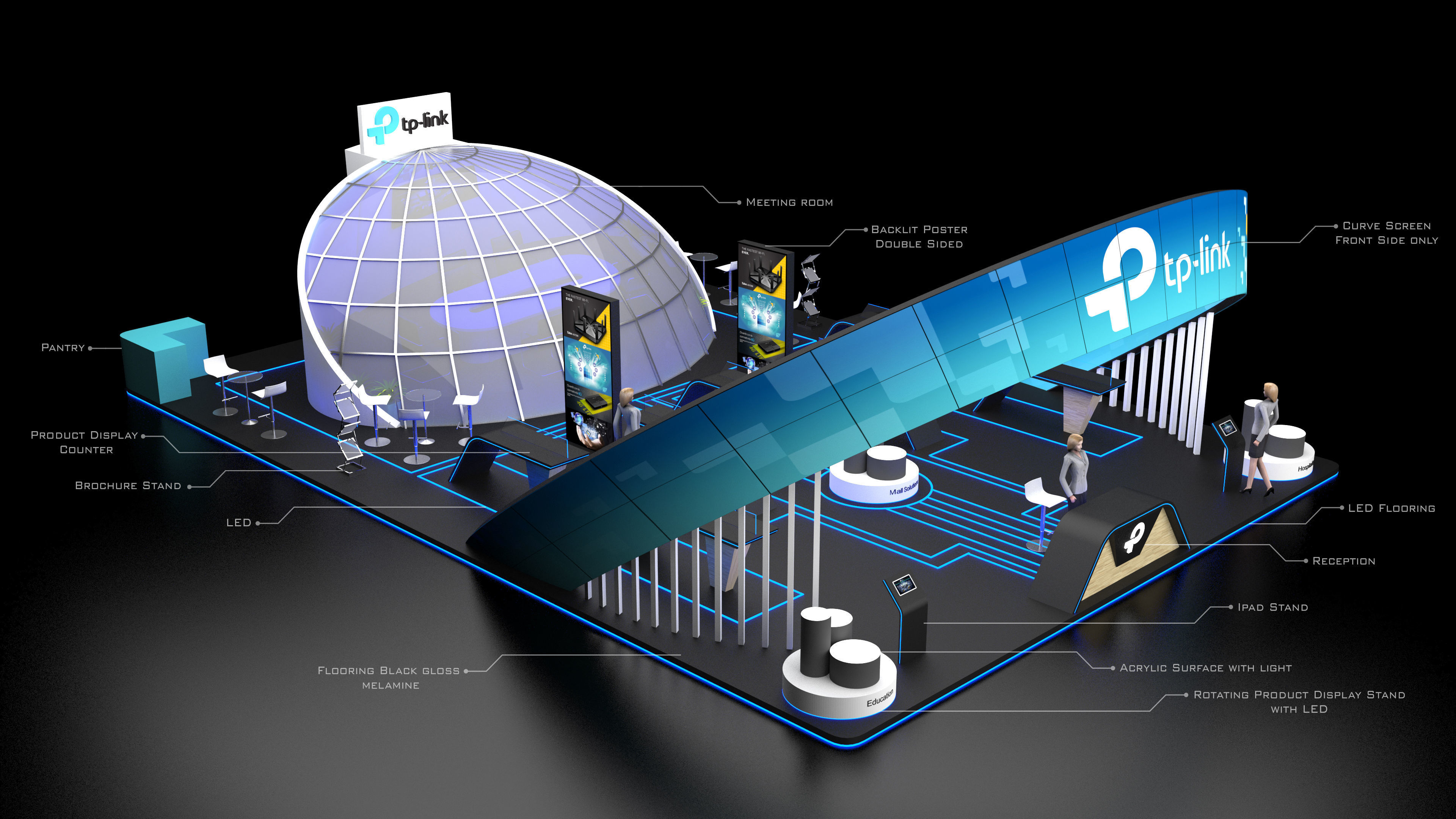 Exhibition Stand Poster Design : Tp link exhibition stand booth sqm d cgtrader