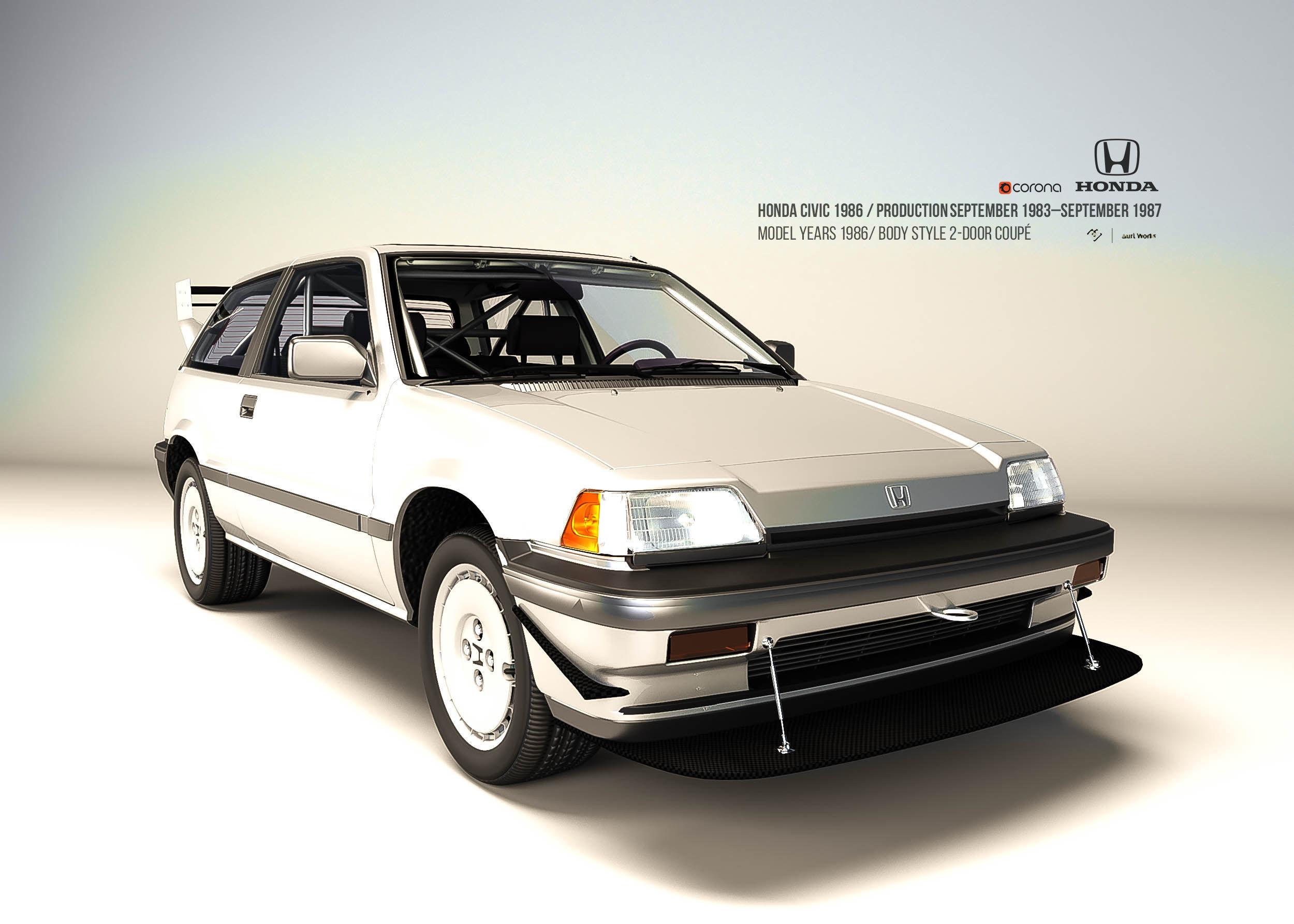 3D asset Honda Civic 1986 Standard-Rallye | CGTrader