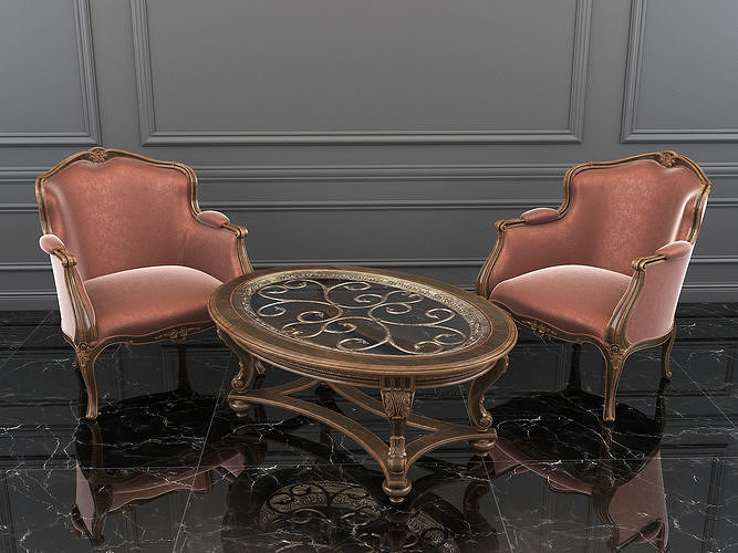 classic carving armchair and table 3d model max obj mtl fbx 1