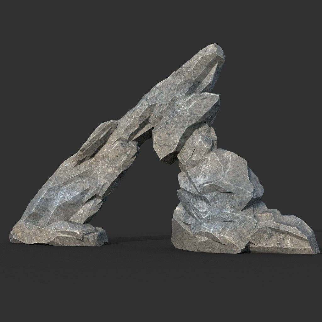 Low poly Gray Rock Formation 05 190421 | 3D model