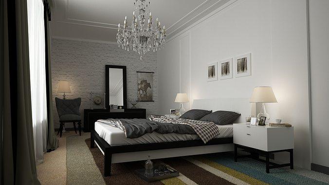 3d Model White Bedroom Cgtrader