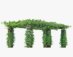pergola long with climbing rose flowers or ivy-like plant 3d