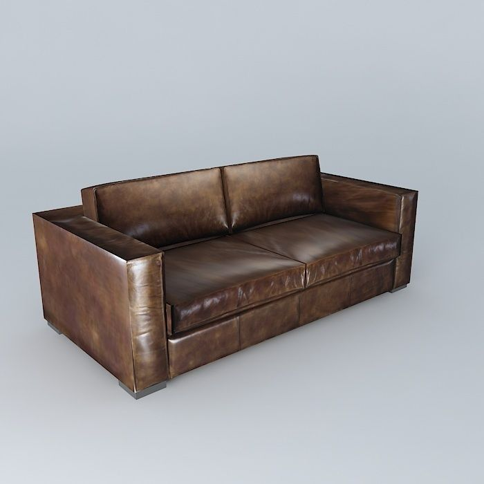 Berlin Aged Brown Leather Sofa Model Max Obj Mtl S Fbx Stl Dae 1