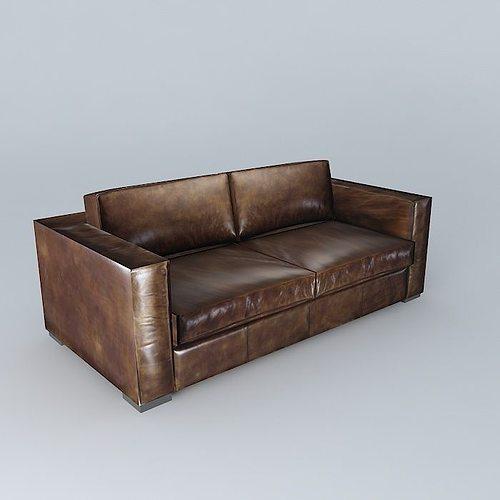 berlin aged brown leather sofa 3d model max obj mtl 3ds fbx stl dae 1