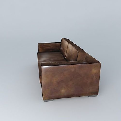 berlin aged brown leather sofa 3d model max obj 3ds fbx stl dae. Black Bedroom Furniture Sets. Home Design Ideas