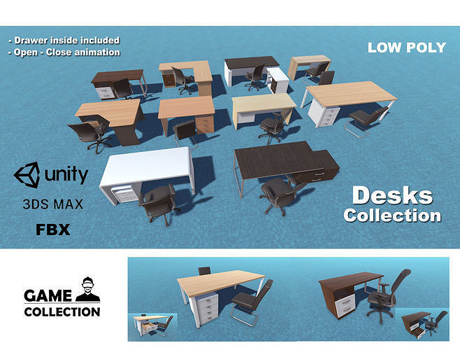 desk collection 3d model low-poly animated max fbx unitypackage prefab 1