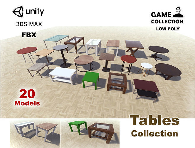 tables collection 3d model low-poly max obj mtl fbx unitypackage prefab 1