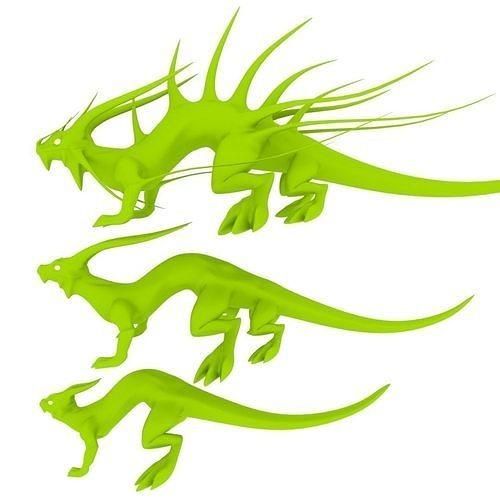 low poly lizard dragons 3d model obj mtl 3ds fbx stl blend dae 1
