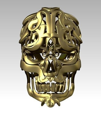 carving pattern man head skull wareframe  pendant jewel 3d model obj mtl stl 1