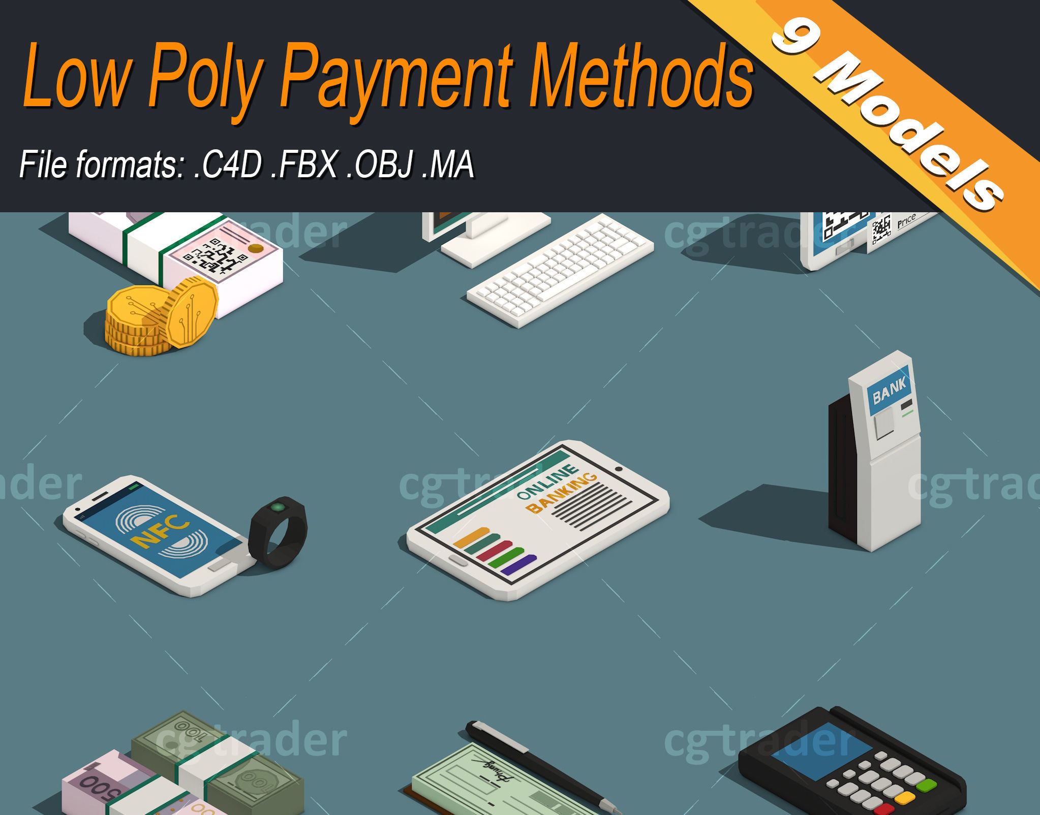 Low Poly Payment Methods Isometric
