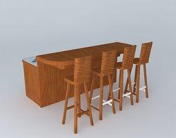 Free Standing Breakfast Bar 3D model