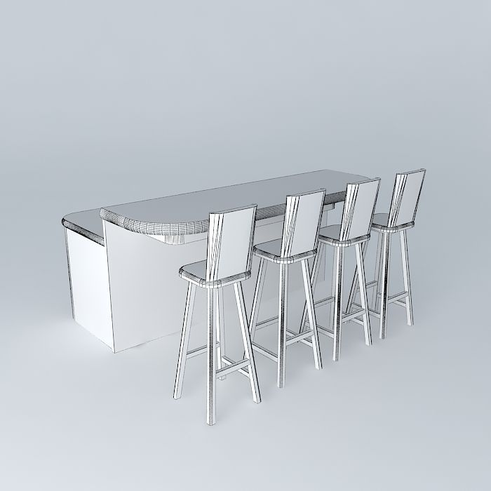 ... free standing breakfast bar 3d model max obj 3ds fbx stl dae 4 ... : free standing breakfast bar and stools - islam-shia.org