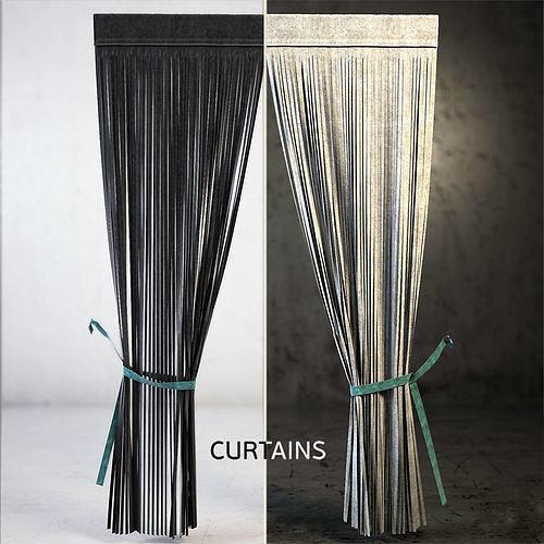 curtain fabric textile houseware 3d model max fbx 1