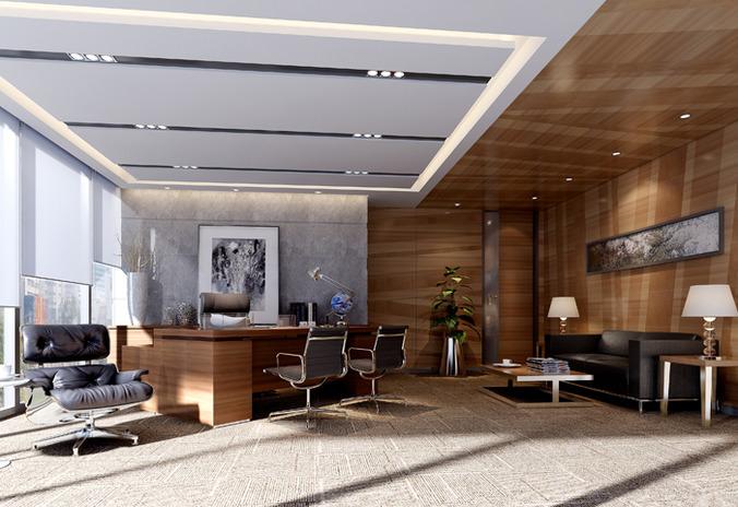 modern working room  3d model max fbx 1