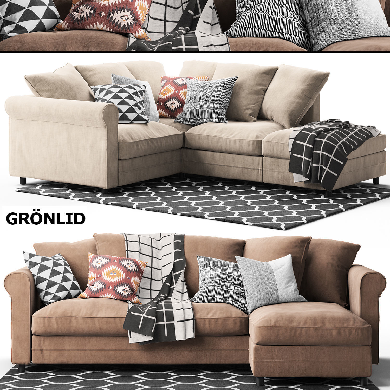 Excellent 2 Corner Sofas Gronlid Ikea 3D Model Caraccident5 Cool Chair Designs And Ideas Caraccident5Info
