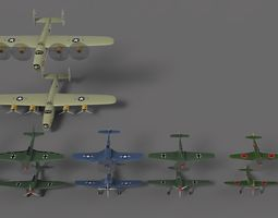 3D asset Airplanes WWII collection