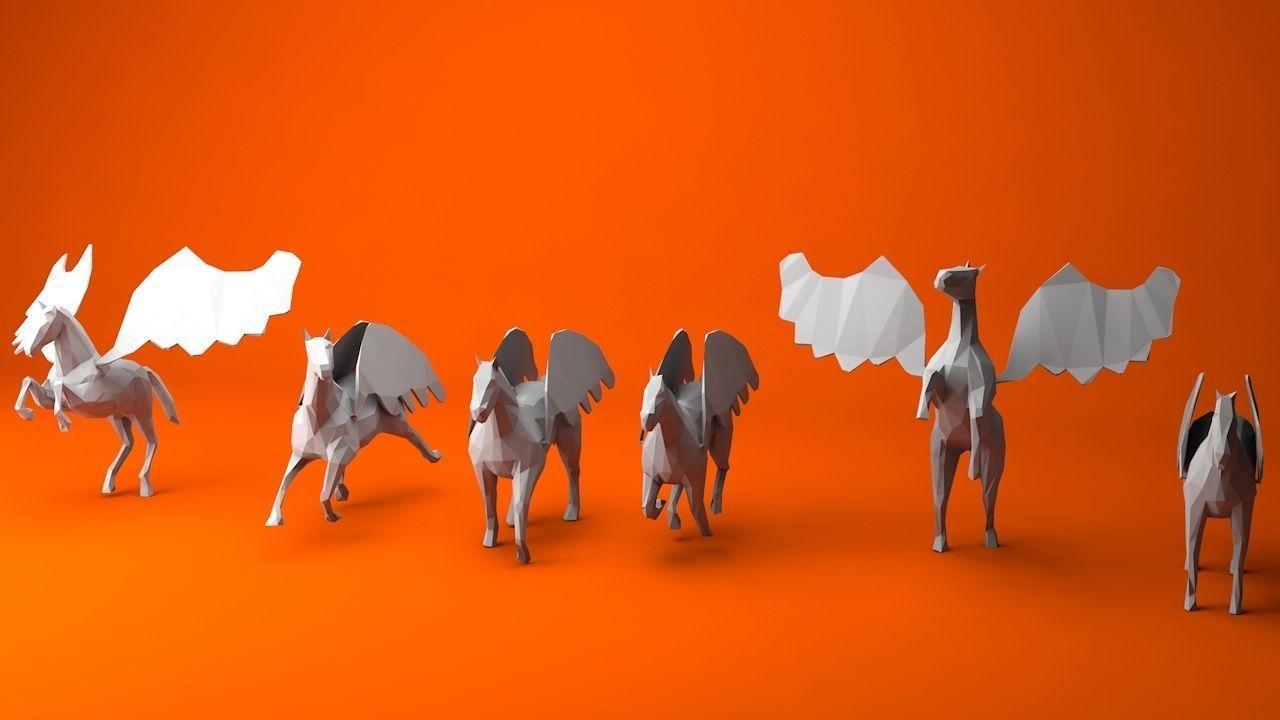 6 Lowpoly Pegasus