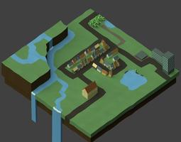 Low-Poly Town 3D asset