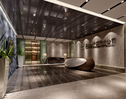 hotel reception space 3d
