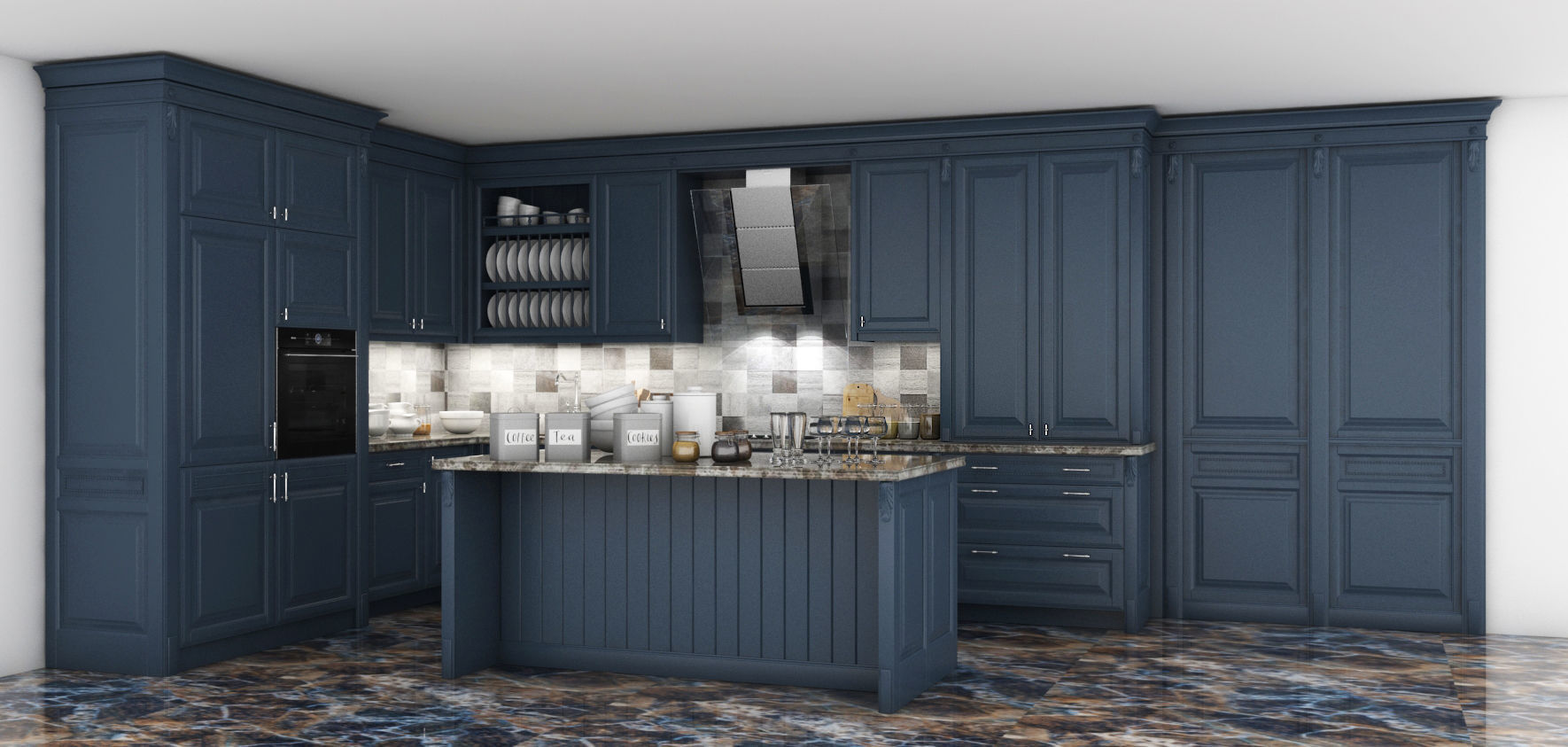 Admirable Classic Kitchen Cabinet 3D Model Download Free Architecture Designs Scobabritishbridgeorg