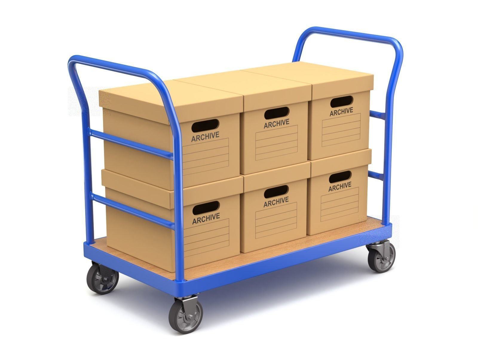 Warehouse Trolley with Storage Boxes