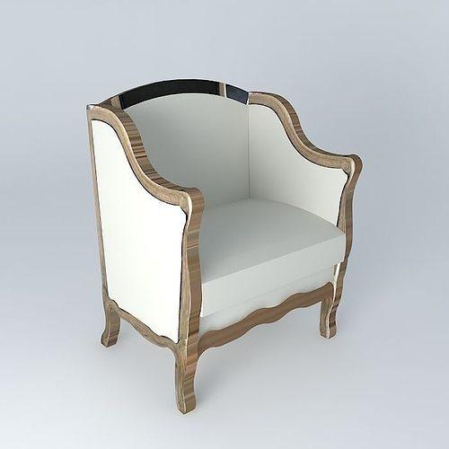 linen armchair archibald maisons du monde 3d model max obj 3ds fbx stl dae 1