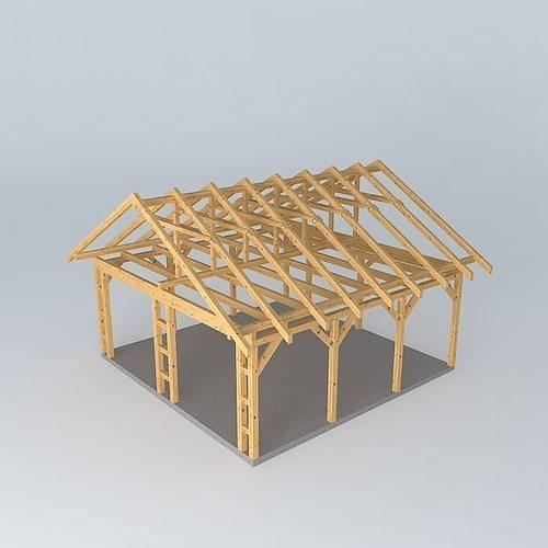basic wood frame construction free 3d model