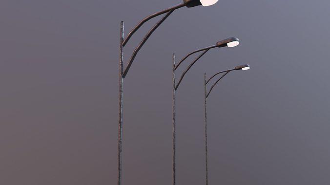 Low Poly Streetlight with single bulb