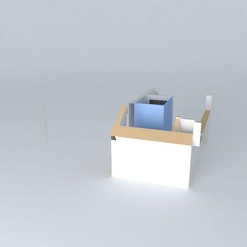 Overhead view bathroom design free 3d model max obj 3ds for Bathroom design online 3d