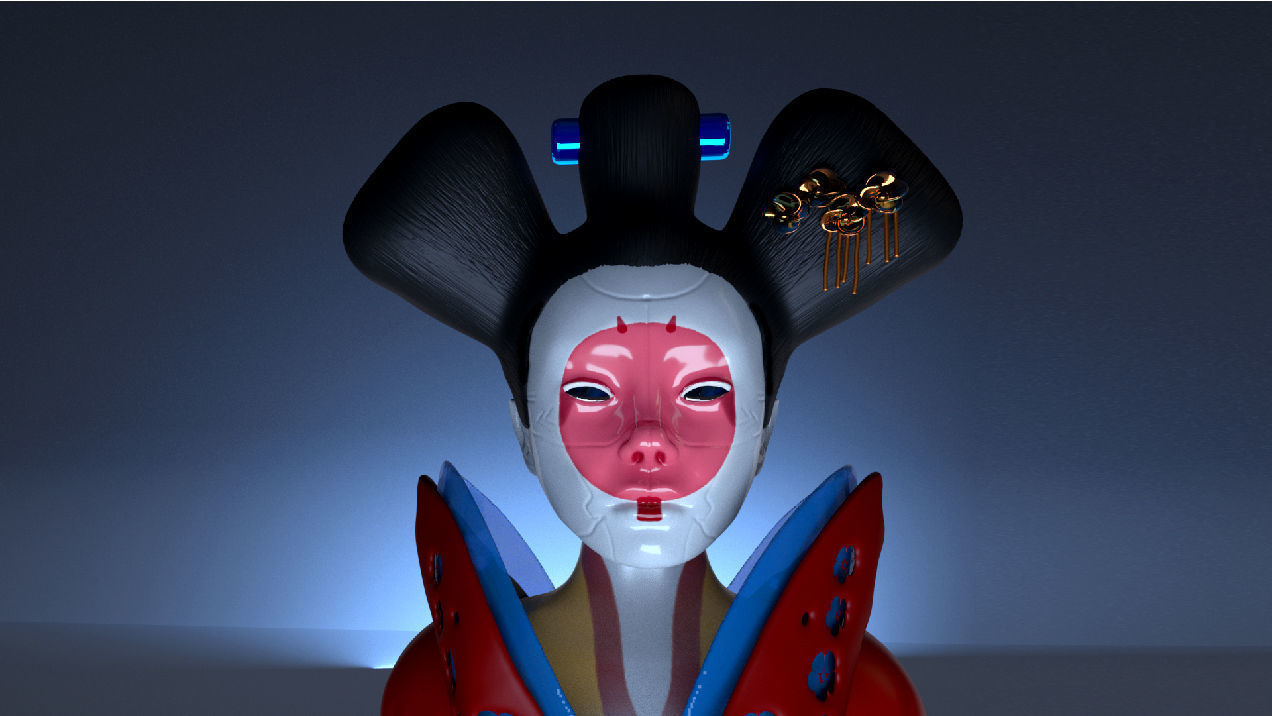 ghost in the shell -  geisha Japan film character