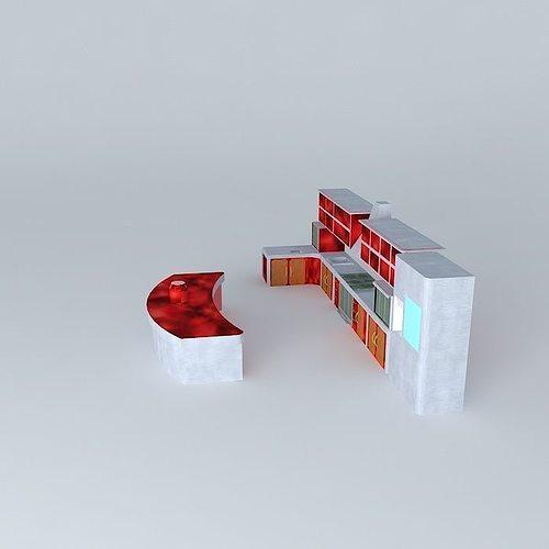 Kitchen set style elcom corp free 3d model max obj 3ds fbx for Kitchen set 3ds max