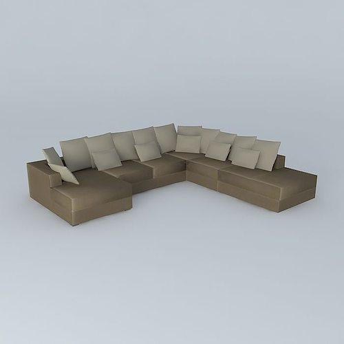 7p taupe sofa loft maisons du monde 3d model cgtrader - Maison du monde sofa ...