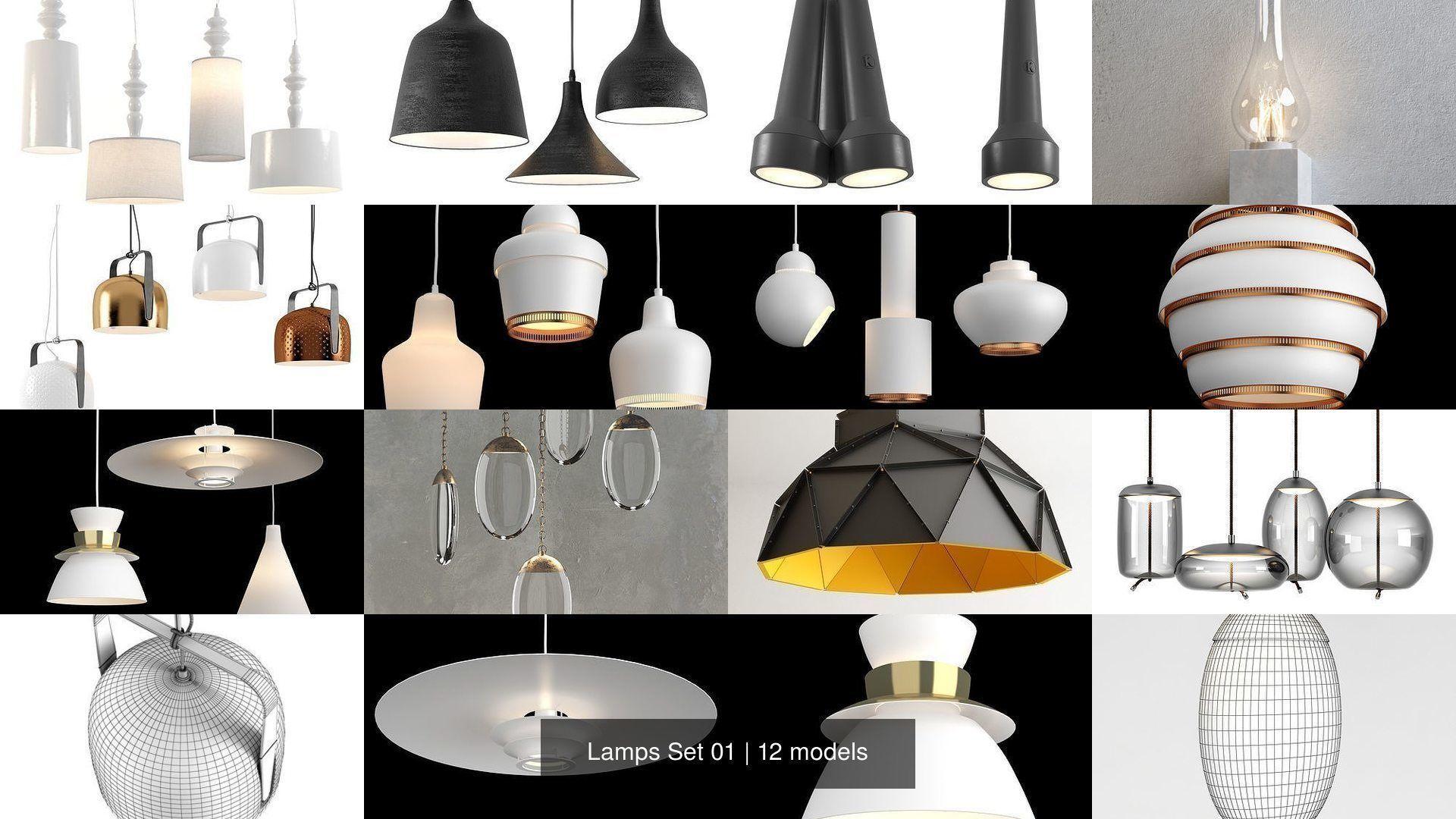 3d Model Lamps Set 01 Restaurant Cgtrader