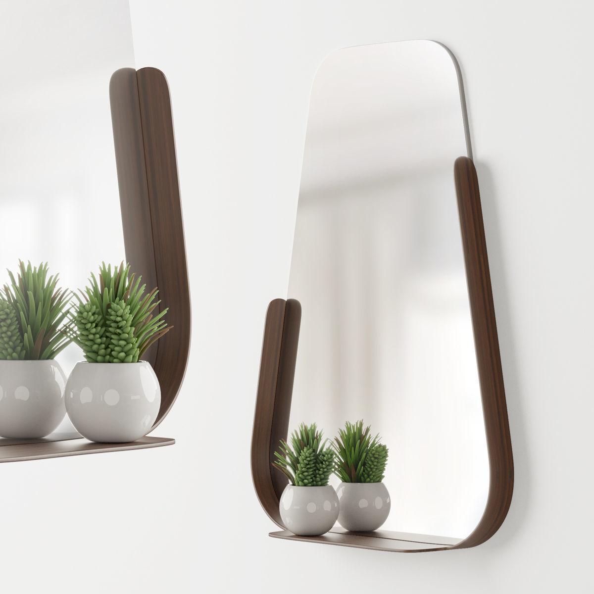 Modern mirror with shelf and decor