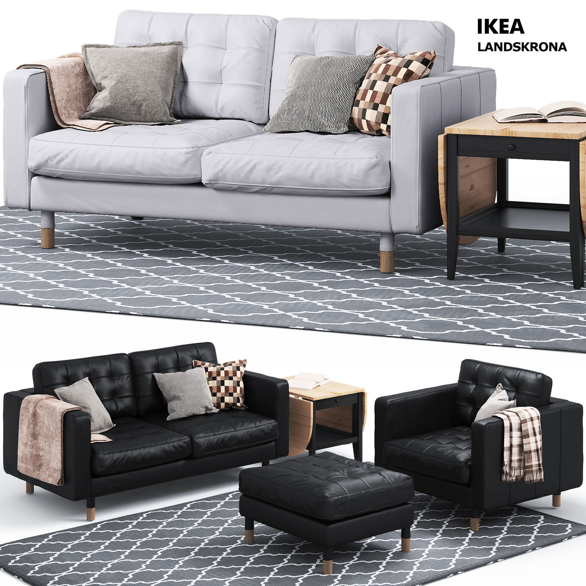 Superb Sofa And Chair Landskrona Series Ikea 3D Model Creativecarmelina Interior Chair Design Creativecarmelinacom