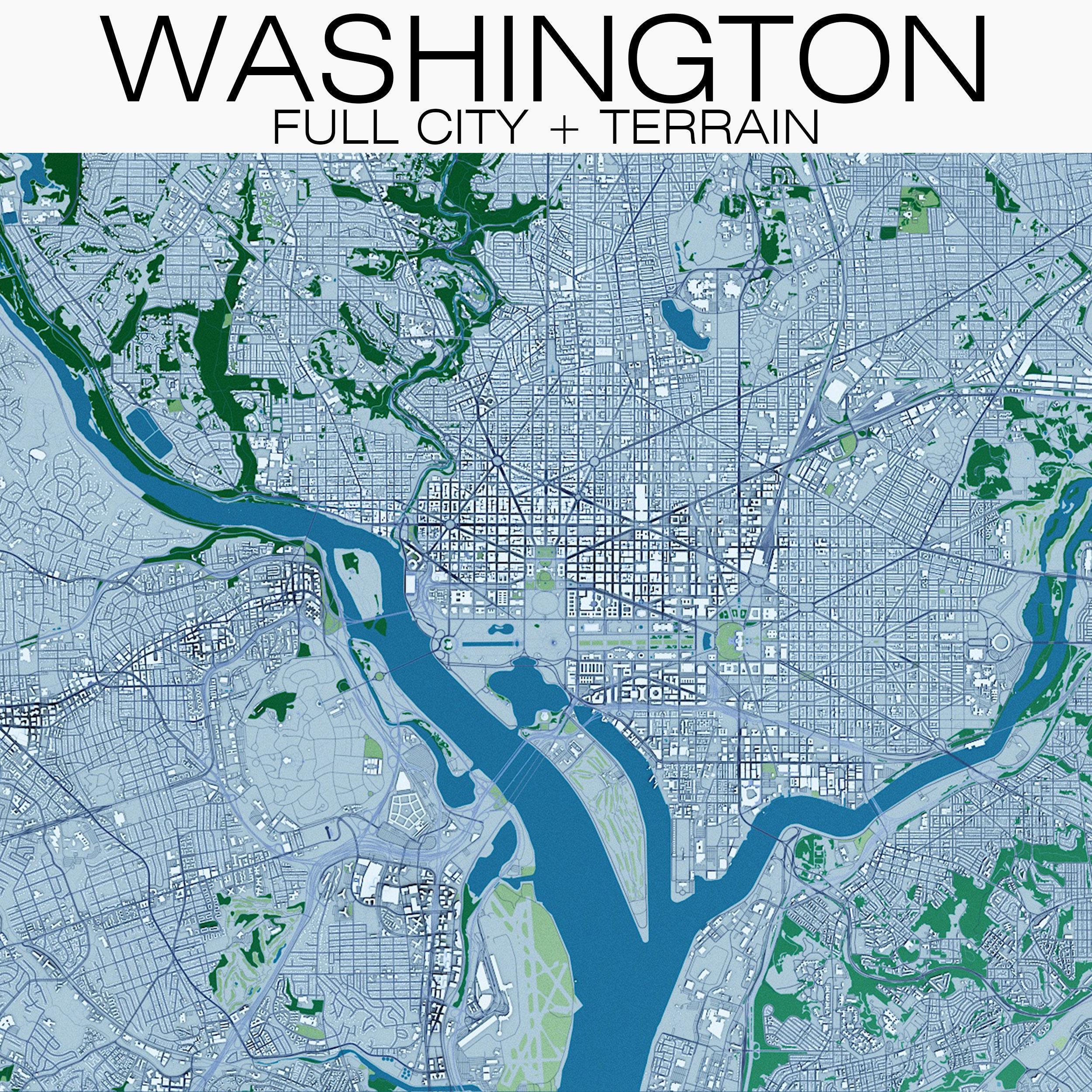 Washington with Terrain