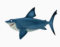 Shark cartoon 3D asset
