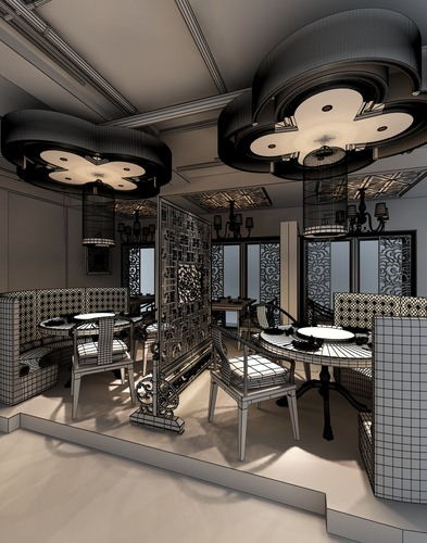 photoreal restaurant interior collection 3d model max 12